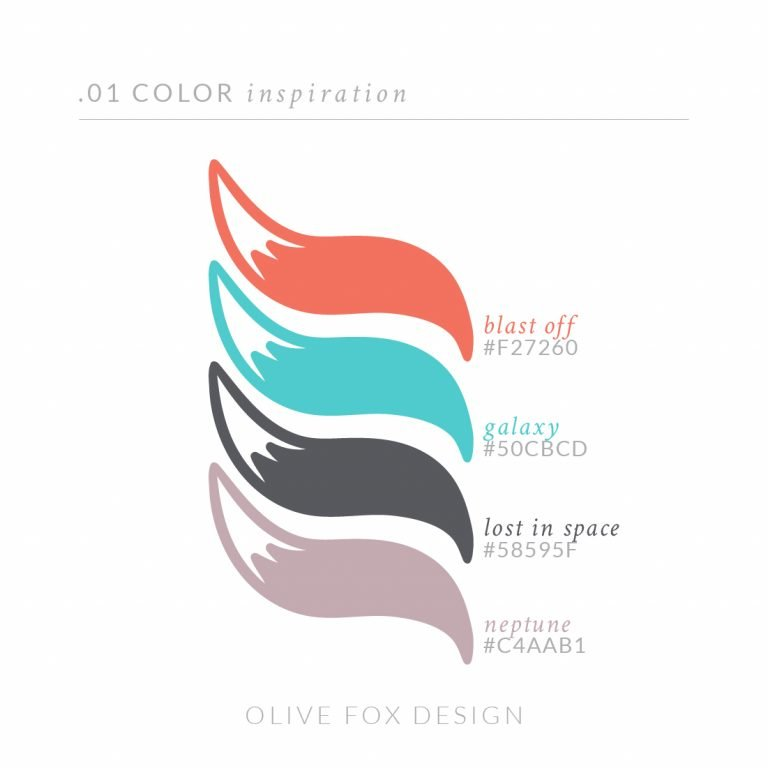 The title text of 01 color inspiration. Below are four color swatches in the shape of fox tales (from top to bottom) 1) A light orange with the title of blast off 2) A bright teal with the title galaxy 3) A dark gray with the title lost in space 4) A muted lavender purple swatch with the title Neptune Below the color swatches is the author line: Olive Fox Design.