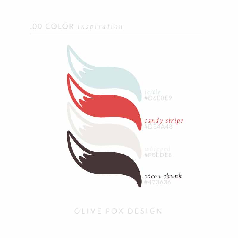 The title text of 00 color inspiration. Below are four color swatches in the shape of fox tales (from top to bottom) 1) An icy blue with the title icicle 2) A classic red with the title candy stripe 3) A light beige with the title whipped 4) A rich brown with the title cocoa chunk Below the color swatches is the author line: Olive Fox Design.
