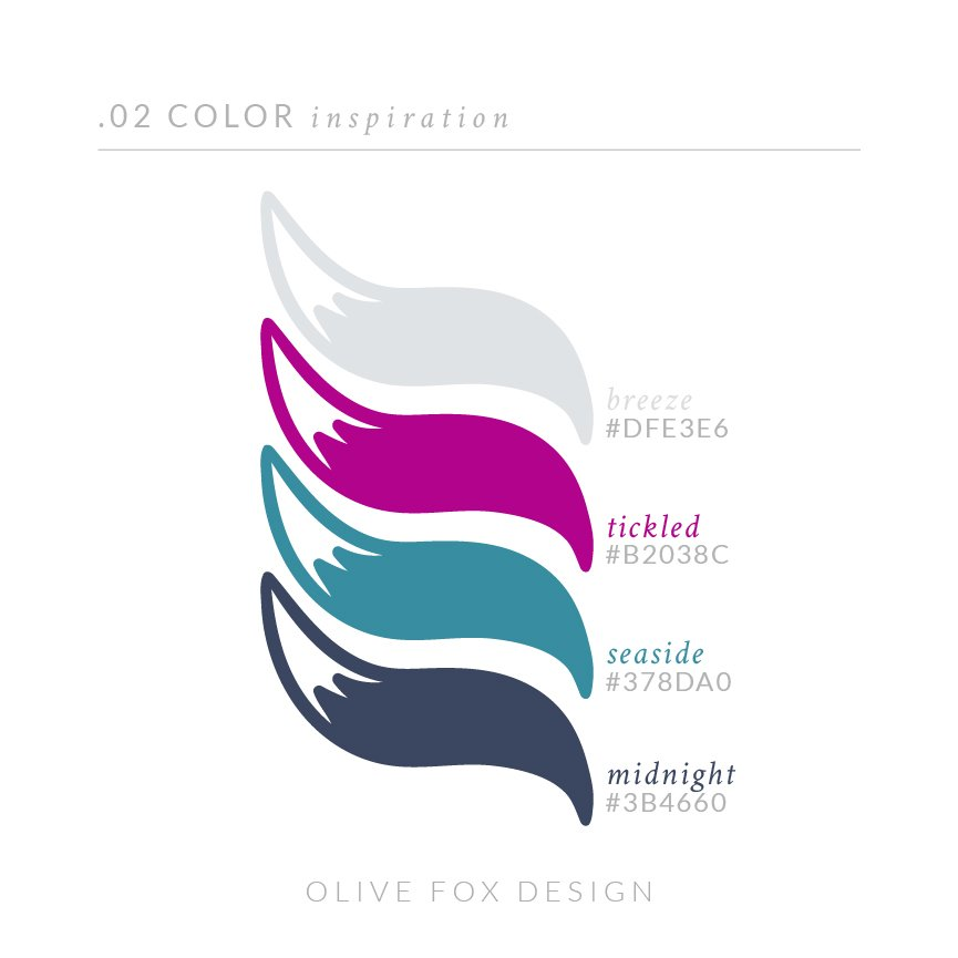 The title text of 02 color inspiration. Below are four color swatches in the shape of fox tales (from top to bottom) 1) A light gray with the title breeze 2) A bright magenta with the title tickled 3) A rich teal with the title seaside 4) A muted navy with the title midnight  Below the color swatches is the author line: Olive Fox Design.