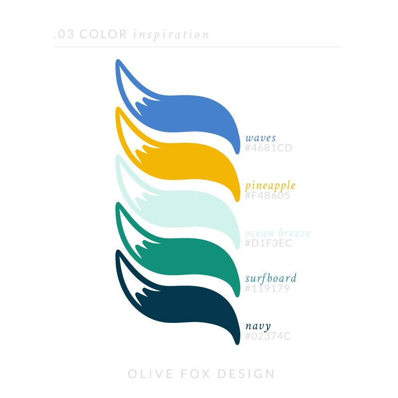 The title text of 03 color inspiration. Below are five color swatches in the shape of fox tales (from top to bottom) 1) A blue with the title waves 2) A bright gold yellow with the title pineapple 3) A light teal with the title ocean breeze 4) A bold turquoise with the title surfboard Below the color swatches is the author line: Olive Fox Design.
