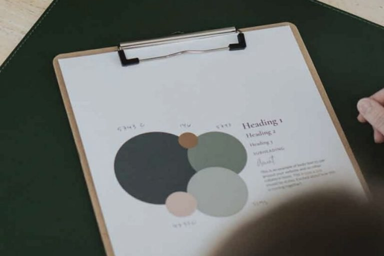 Desk with clipboard with sheet of paper with the brand colors and typography for Olive Fox Design.