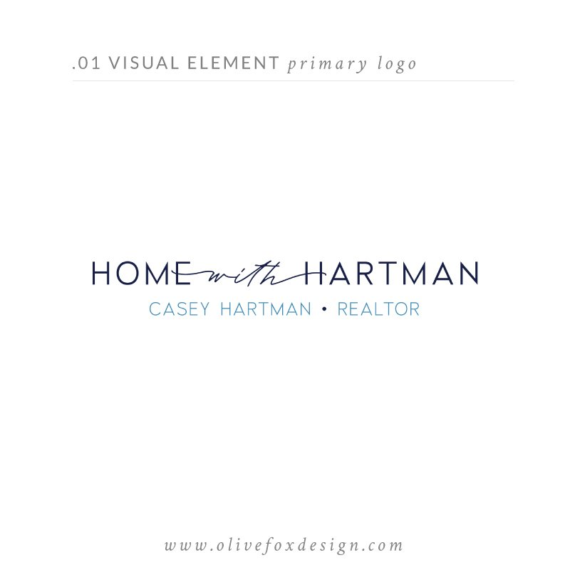 "White background with the header text ""2 Visual Element - primary logo"". In the middle is the main logo designed by Olive Fox Design. At the bottom the text reads ""www.olivefoxdesign.com""."