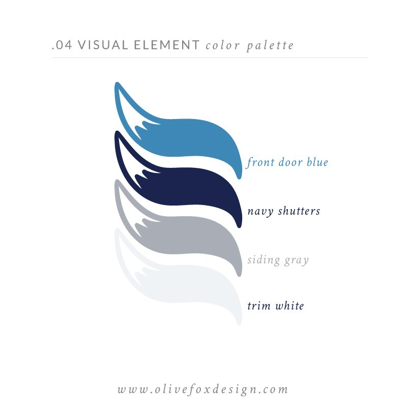 "White background with the header text ""4 Visual Element - Color Palette"" In the middle are four color swatches in blue, navy, gray and white curated by Olive Fox Design. At the bottom the text reads ""www.olivefoxdesign.com""."